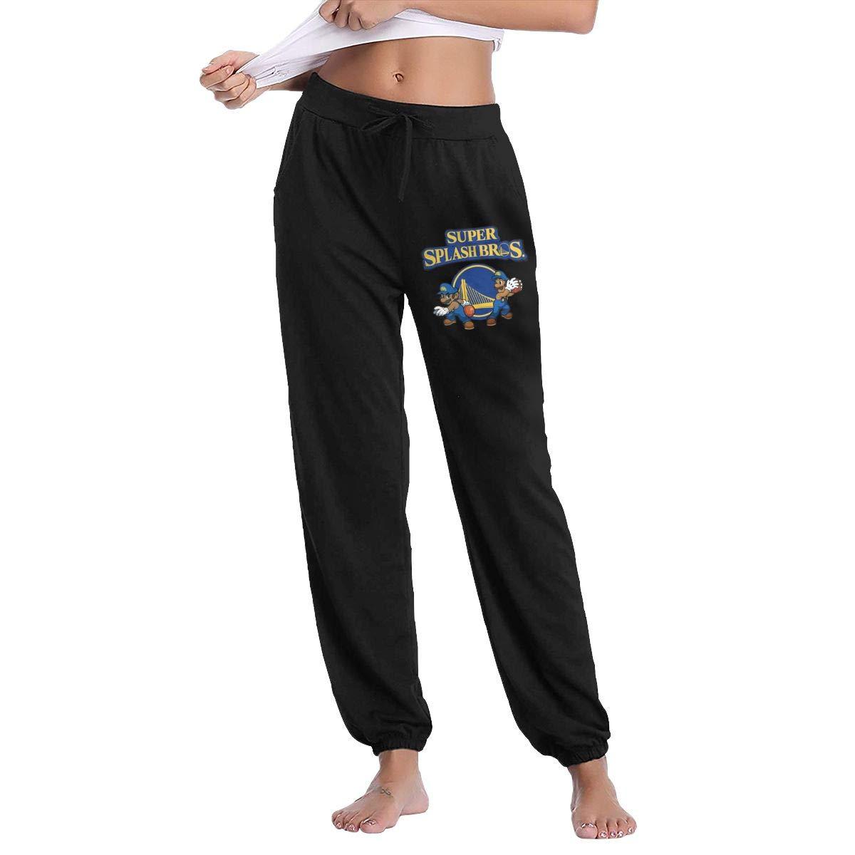 Black L GavDon Women's KlayThompsonStephenCurryWarriors Casual Sweatpants Yoga Jogger Lounge Sweat Pants with Pockets