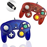 Gamecube Controller, Reiso 2 Packs Classic NGC Wired Controllers for Wii Gamecube(Clear Red and Clear Blue)