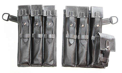 Magnoli Clothiers WWII MP40 Black Leather AMMO POUCH (Set of 2) Stormtrooper