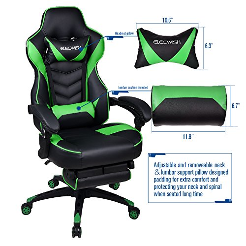 Gaming Chair Green Back Office Chair and Lumber Support