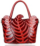 Pijushi Designer Inspired Ladies Top Handle Handbags Embossed Leather Satchel Tote Shoulder Bags (Red)