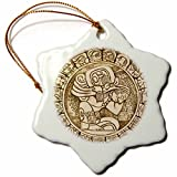 3dRose orn_140867_1 Mayan Woodcarving, Belize Sa02 Wsu0001 William Sutton Snowflake Ornament, Porcelain, 3-Inch