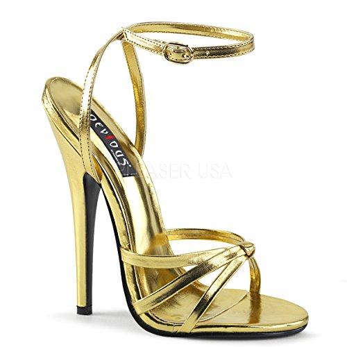 Devious Women's Domina-108 Sandal, Gold/Metallic Polyurethane, 6 M ()