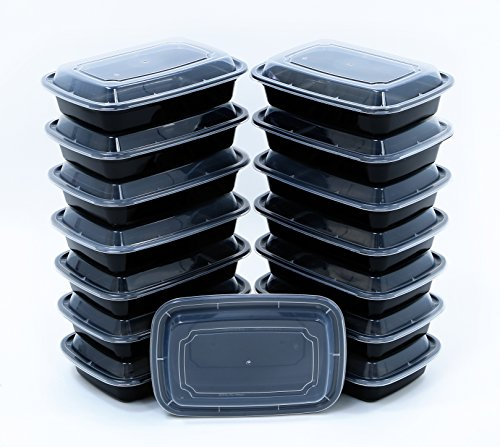 BlacWare [15 Pack] 28oz Meal Prep 1 Compartment Food Storage Containers Durable BPA Free Plastic Reusable Microwave & Dishwasher Safe Airtight Lid Portion Control & 21 Day Fix Weight Loss Fitness