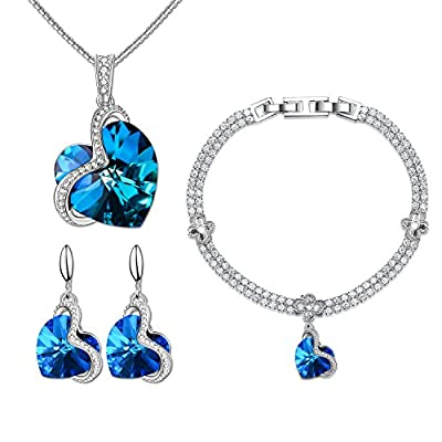"Menton Ezil ""Enchanted Love"" Swarovski Necklace Earrings Tennis Bracelet 18K White Gold Plated Wedding Jewelry Set - Gifts for Her"