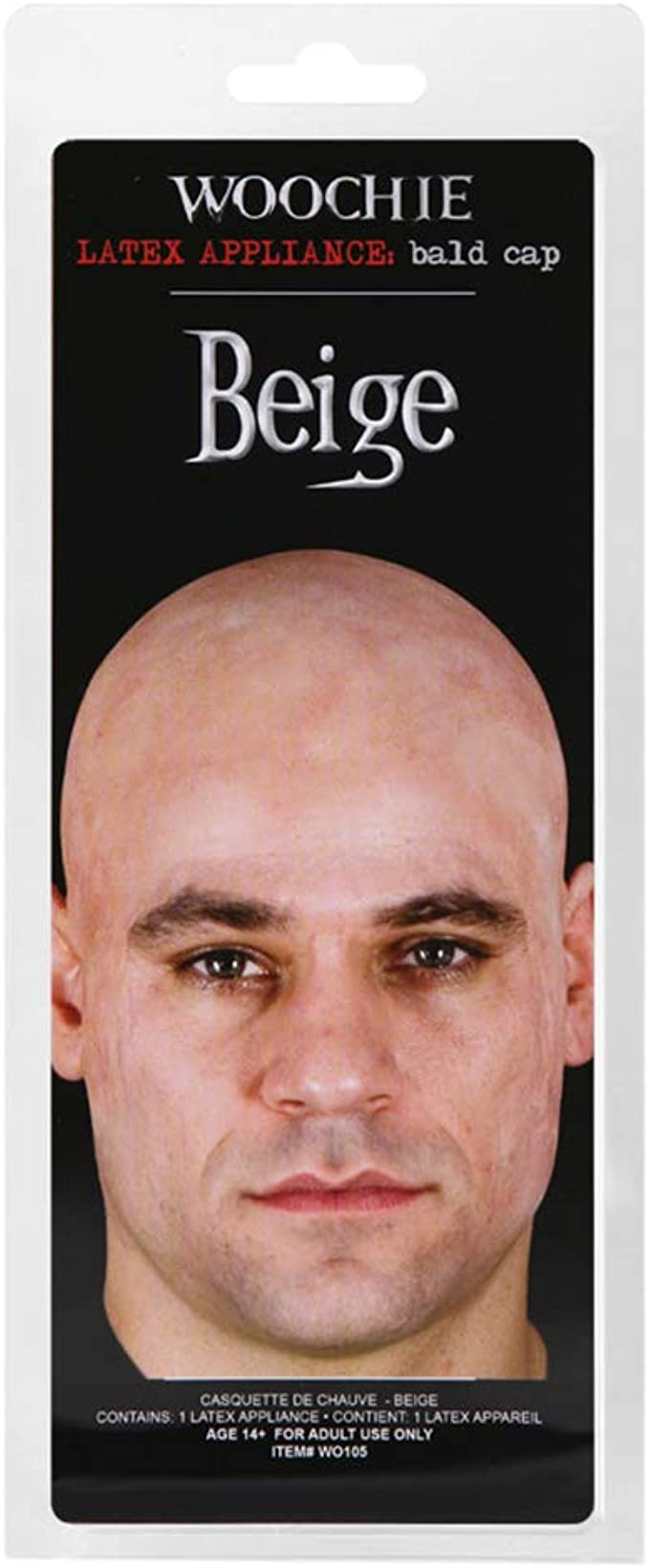 WOOCHIE PROFESSIONAL LATEX BALD CAP STAGE THEATRICAL TV COSTUME MAKEUP BEIGE