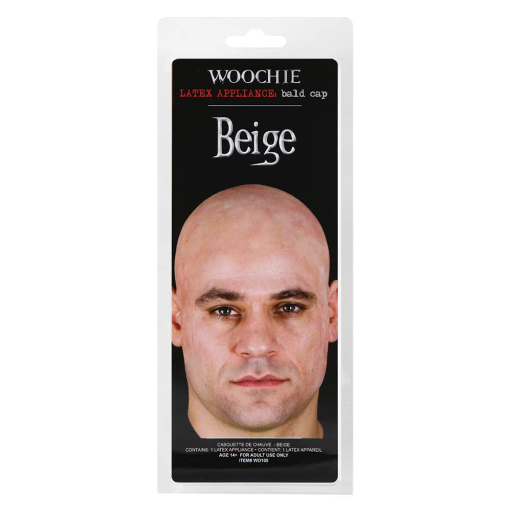 233b7e05ff7 Woochie Beige Skin Head Colour Actors Acting Theatrical Latex Bald Cap Wig   Amazon.co.uk  Clothing