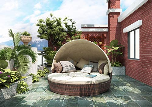 Merax All-Weather Outdoor Sectional Sofa Conversation Set Rattan Round Daybed Sunbed