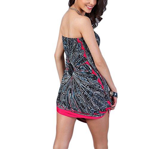 Midi Dress La Sera Vestito Vestito Spalla Dalla Donne Da Moda Allentate Rosso Stampato Beach Delle Wrap WCwzYUCq