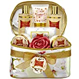 Easter Bath and Body Gift Basket For Women – Honey Almond Home Spa Set with Fragrant Lotions, 6 Bath Bombs, Reusable Travel Cosmetics Bag with Mirror and More - 14 Piece Set