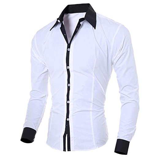 Bestop Men's Long-Sleeve Shirt, T-Shirts, Men's Autumn Casual Formal Print Slim Fit Long Sleeve Dress Shirt Top Blouse