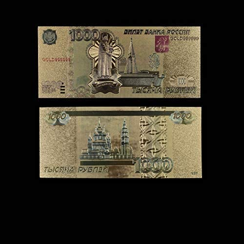CHENTAOCS ロシアルーブル2000色ゴールドコイン紙幣のレプリカ24K金箔記念ゴールド紙幣フェイクマネーパーフェクト工芸 使いやすい (色 : Style 9)