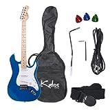 Kalos 39-Inch Electric Guitar Pack, Full Size, Blue - 1EG-MBL