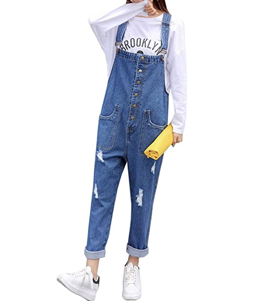 96336bc632ee TOPJIN Women s Adjustable Ripped Jeans Rompers Suspender Denim Overalls  Pants Dark Blue S