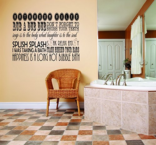 Design with Vinyl RAD 976 1 Bathroom Rules Rub A Dub Don't Forget To Brush Your Teeth Soap Is To the Body What Laughter Is To The Soul Splish Splash Soak Relax Enjoy Quote Wall Decal, Black, 12 x 18