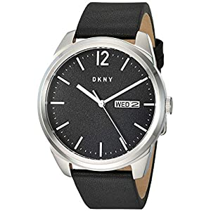 DKNY Men's Gansevoort Stainless Steel Quartz Watch with Leather Strap, Black, 21.8 (Model: NY1604)