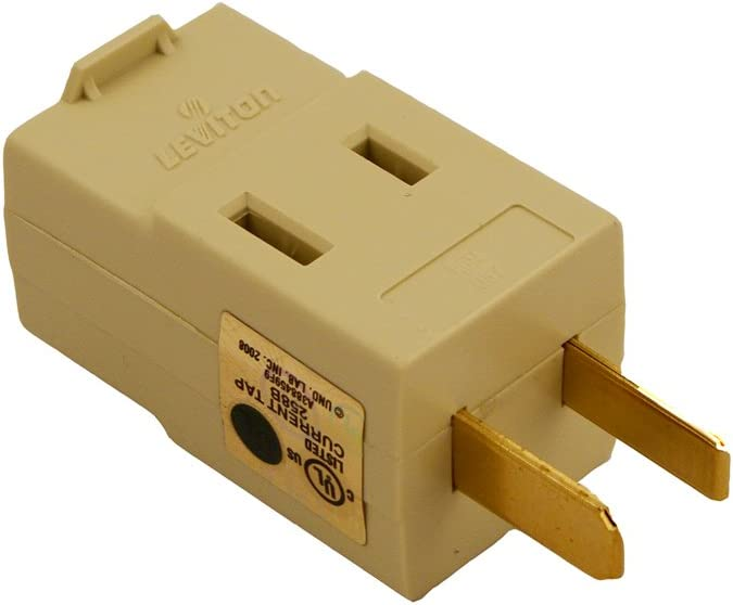 Leviton Triple current tap outlet switch adapter with ground IVORY. pack of 10
