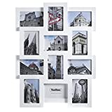 VonHaus 12x Decorative White Wood Wall Hanging Collage Picture Photo Frame for Multiple 4x6 Photos - White Wooden Hanging Wall Photo Frame