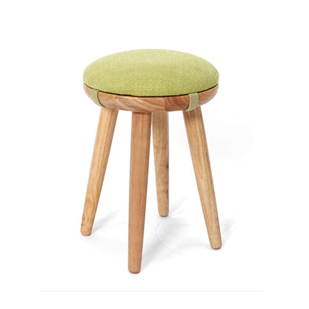 Large ZHILIAN& Solid Wood Stool Simple Round Detachable Linen Stool Set Family Living Room Sofa Stool Dining Stool (Size   S)