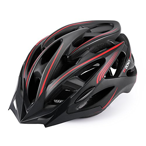 Gonex Adult Bike Helmet, Adjustable Ventilated Road Cycling Helmet,CPSC Certified (L) Black&Red