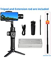 Freevision Vilta-M Pro 3-Axis Handheld Stabilizer Gimbal for iPhone, Samsung, Premium Stability Performance, Double Wheel, Mark A/B Focus Point Setting, Wireless Charging + Tripod and Extension Rod