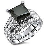 Silvercz Jewels 4 Ct Black Sim Diamond Princess Cut Engagement Ring Bridal Set 14K White Gold Fn
