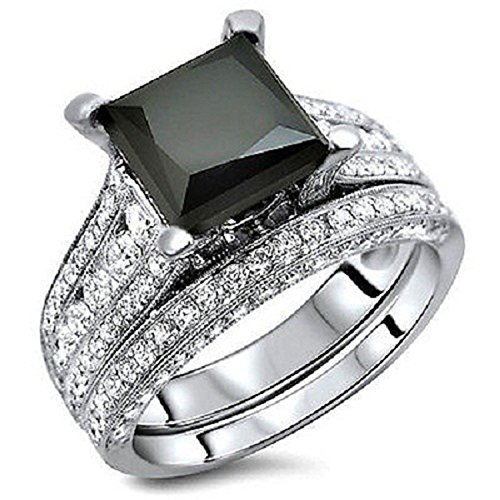 Silvercz Jewels 4 Ct Black Sim Diamond Princess Cut Engagement Ring Bridal Set 14K White Gold Fn by Silvercz Jewels