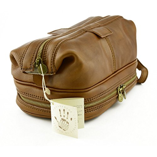 Tan Made Bag Bottom Color Wash Leather Italy Tanned In With Vegetable Double Tuscan Man qxrYawzPqX