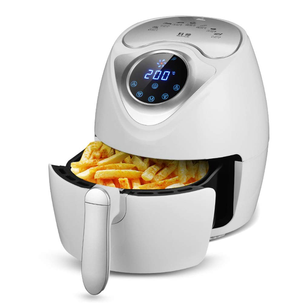 MIAO@LONG Air Fryer 7 in 1 LED Digital Touch Screen Frying Pot for Healthy Kitchen Oil Free Non-Stick pan (2.6 L Capacity) Home Kitchen Quick Portable Oven,White