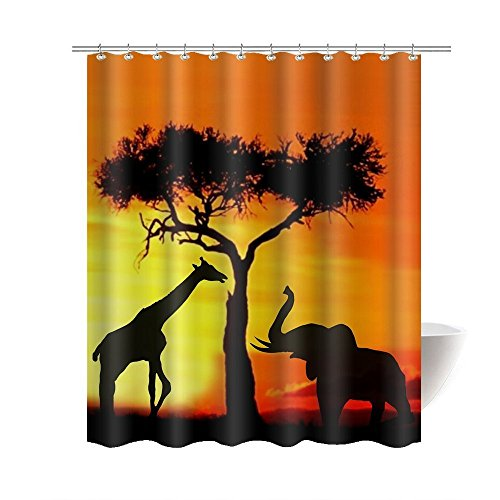 CHARMHOME Africa Elephant Giraffe Wild Animal Sunset Tree Shadows Bathroom Mildew Resistant Fabric Waterproof Shower Room Decor Shower Curtains 66