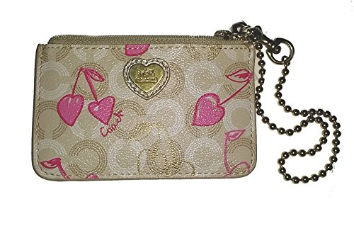 Coach Wavery Cherry Id Skinny Small Wallet Card Case Key Holder Coin 49233