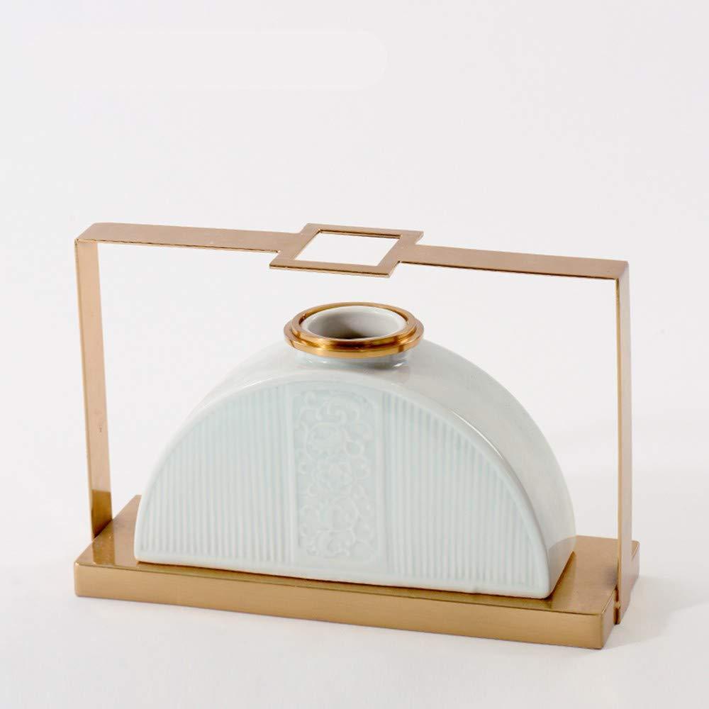 GAOLI Keramik Blumenvase Ornaments Modern Home Wohnzimmer Vorzimmer Licht Luxus Metall Ornament