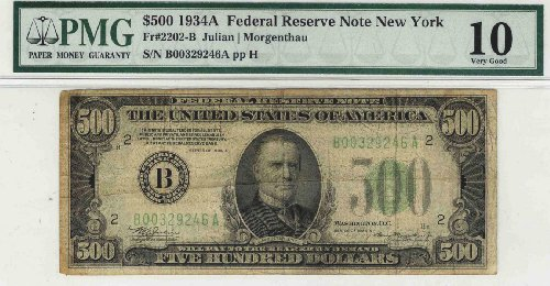 1934-A $500 Federal Reserve Note Fr. #2202B PMG VG10 -