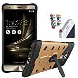 DMG Sniper Dual Layer Hybrid Back Cover Kickstand Case for Asus Zenfone 3 Deluxe 5.7in ZE570KL (Gold) + 3.5mm Jewel Dust Jack