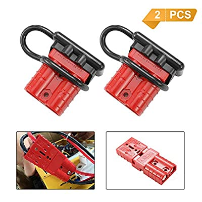BUNKER INDUST Battery Quick Connect Wire Harness Plug Kit 50A 6-10 Gauge Battery Cable Quick Connect Disconnect Plug for Winch Auto Car Trailer Driver Electrical Devices,2 Pcs,Red