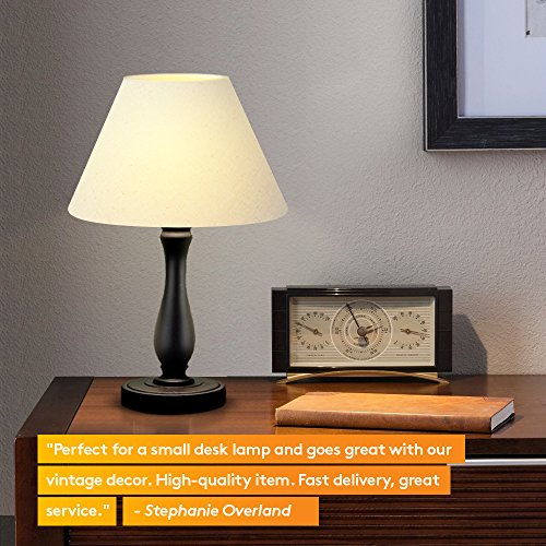 Brightech Noah LED Side Bedside Table & Desk Lamp: Traditional Elegant Black Wood Base, Neutral Shade & Soft, Ambient Light for Bedroom Nightstand, Living Room, Office; Incl. LED Bulb, Cord by Brightech (Image #2)