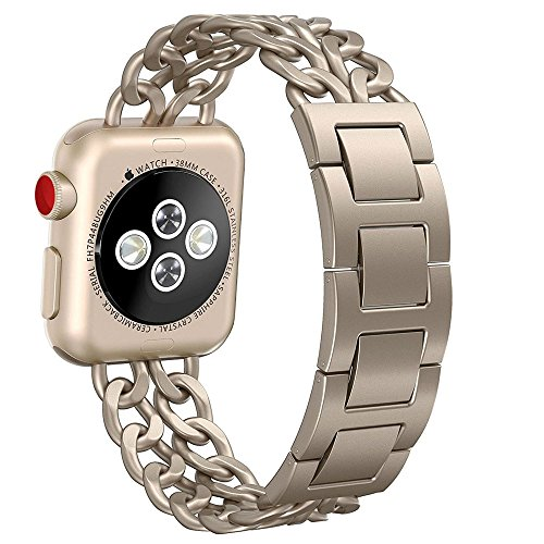 Apple Watch Band, Aokay 42mm Stainless Steel Metal Cowboy Chain Band for Apple Watch Series 2 Series 1 42mm, Gold