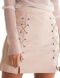 Womens High Waist Lace up Bodycon Faux Suede A Line Mini...