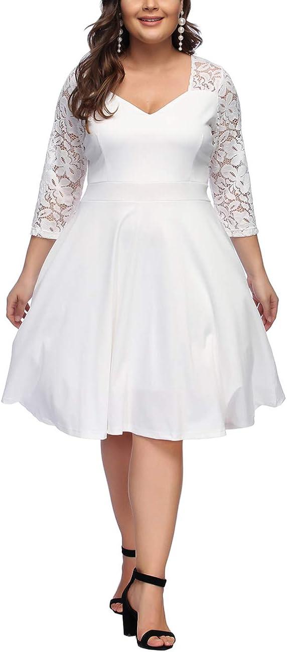 TALLA 3XL/ES 54-56. FeelinGirl 1950 Año Retro A-Línea Falda de Fiesta para Mujer Encaje-blanco 3XL/ES 54-56