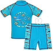HUAANIUE Boys Swimsuit Rashguard Set Two Piece Short Sleeve
