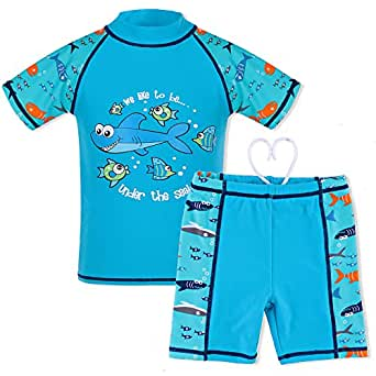 HUANQIUE Boys Swimsuit UPF50+ UV Two Piece Protective Blue Short 4-5 Years