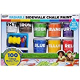 RoseArt Washable Sidewalk Chalk Paint, Big Super Set with 8 Colors & 2 Foam Brushes