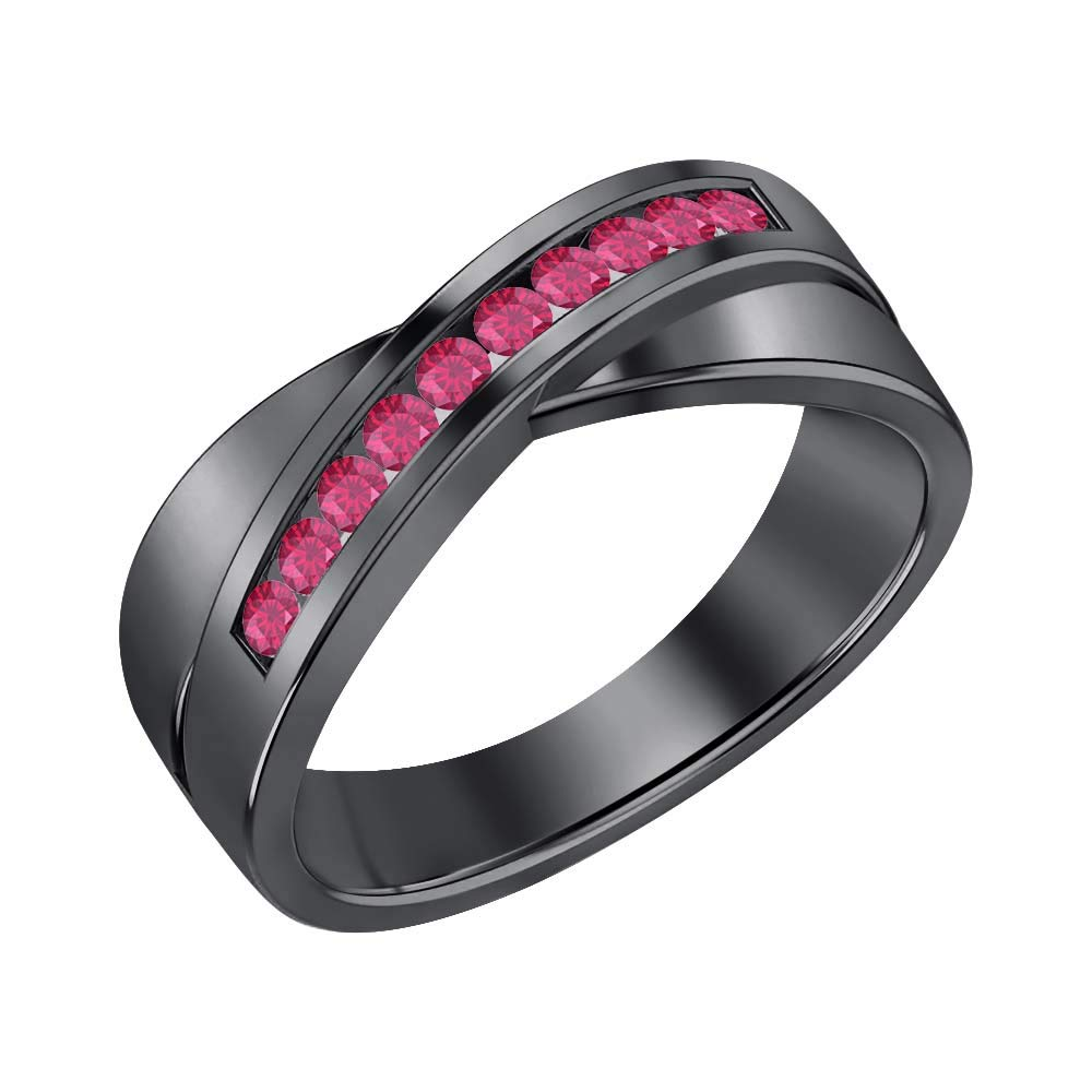 SVC-JEWELS 14K Black Gold Over 925 Sterling Silver Round Cut Pink Ruby Criss Cross X Wedding Band Ring Men