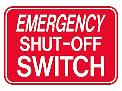 Amazon.com : Emergency Shut Off Switch Pool Safety Sign ...