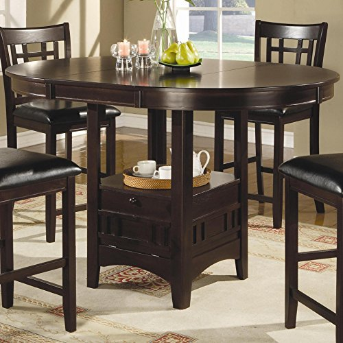 Pedestal Counter (Coaster Counter Height Dining Table Extension Leaf Dark Cappuccino Finish)