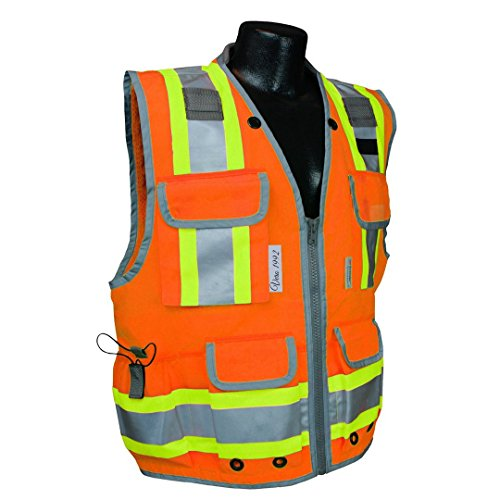 VERO1992 Reflective Vest Class 2 Heavy Woven Two Tone Engineer Hi Viz Orange Safety Vest 3M 8712 Tape (XX-Large, (Hi Viz Orange Safety Vest)