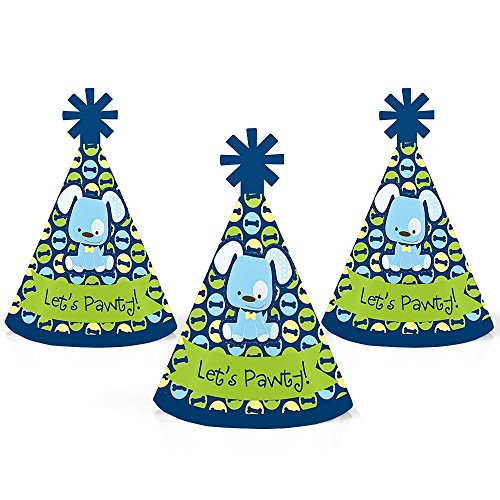 Boy Puppy Dog - Mini Cone Baby Shower or Birthday Party Hats - Small Little Party Hats - Set of -