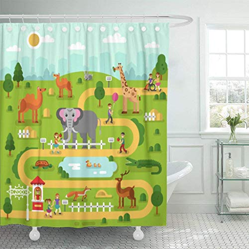 GETTOGET Flat of Animals in The Zoo Infographics Map Elephant Shower Curtain Bathroom Sets Hooks,Waterproof Polyester Curtain (Best Zoo In France)