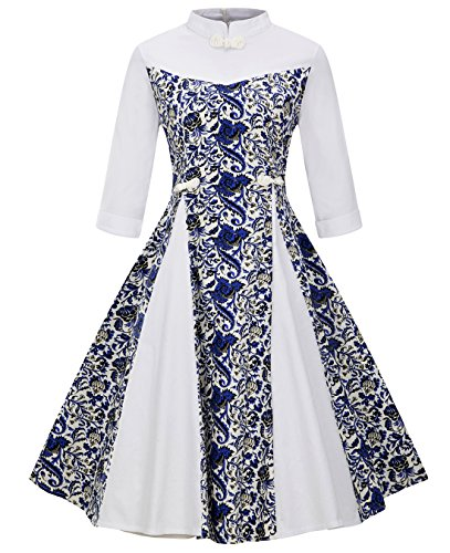 Women's Retro Vintage Stand Collar 3/4 Sleeves Colorblock Frog Buttons Decor Swing Dress