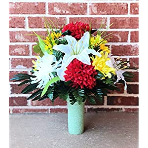 Cemetery Vase Flowers ~ Beautiful Red Yellow Ivory Mum,Ivory Lily,Sunflower and Yellow Flowers Mixture Cemetery Flowers ~ Mother's Day 113